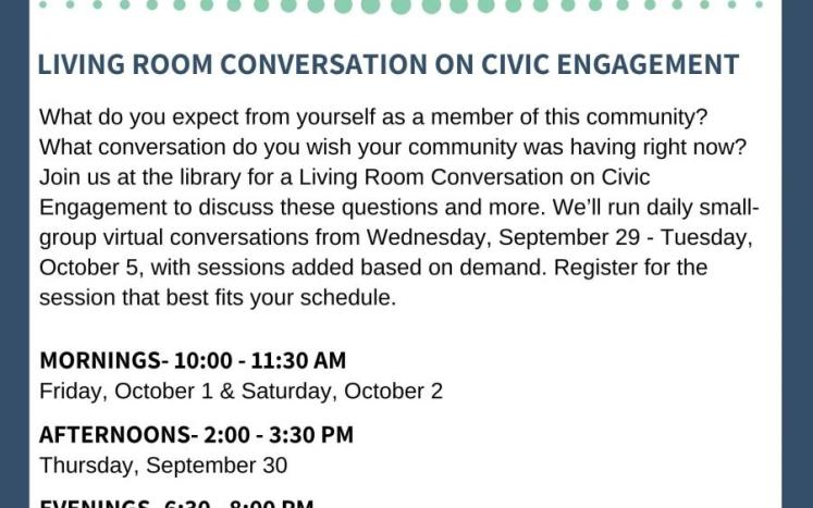 Living Room Conversations on Civic Engagement flyer
